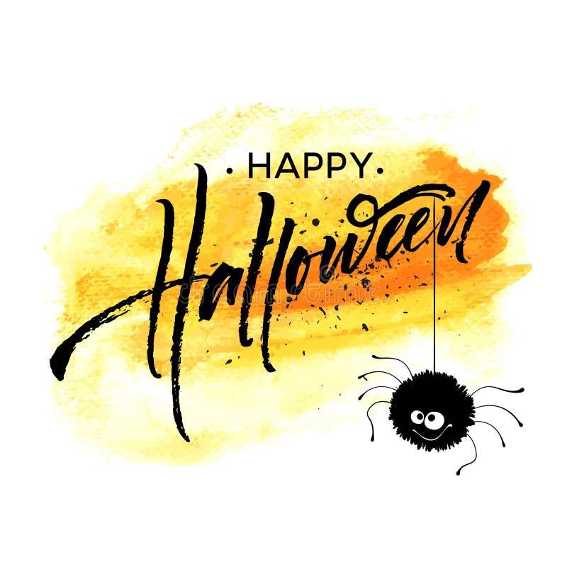 Счастливая литерность хеллоуина Каллиграфия праздника для знамени, плаката, поздравительной открытки, приглашения партии также ве иллюстрация вектора