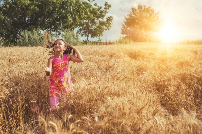 Счастливая маленькая девочка в поле зрелой пшеницы стоковое фото rf
