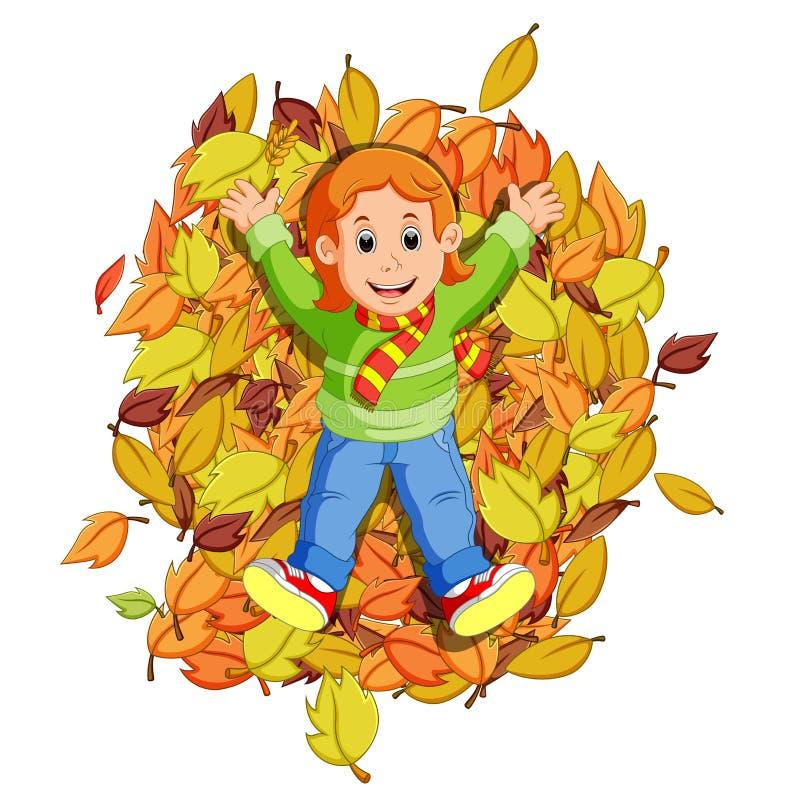 Счастливая маленькая девочка играя с листьями осени иллюстрация штока