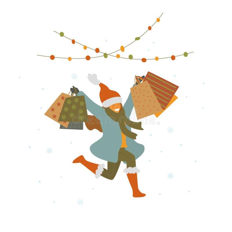 Счастливая милая девушка скача для утехи с хозяйственными сумками, продажи зимы рождества изолировала иллюстрацию вектора бесплатная иллюстрация