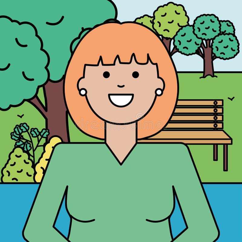 Счастливая молодая женщина в парке иллюстрация штока