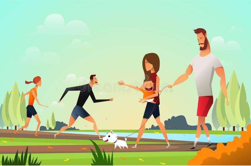 Счастливая молодая семья с маленькой собакой в парке и молодом идти людей пар Отец и moter в парке напольно иллюстрация штока