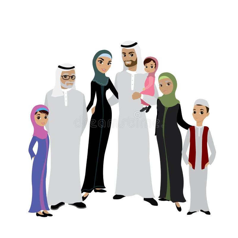 Счастливая мусульманская арабская семья изолированная на белой предпосылке в квартире бесплатная иллюстрация