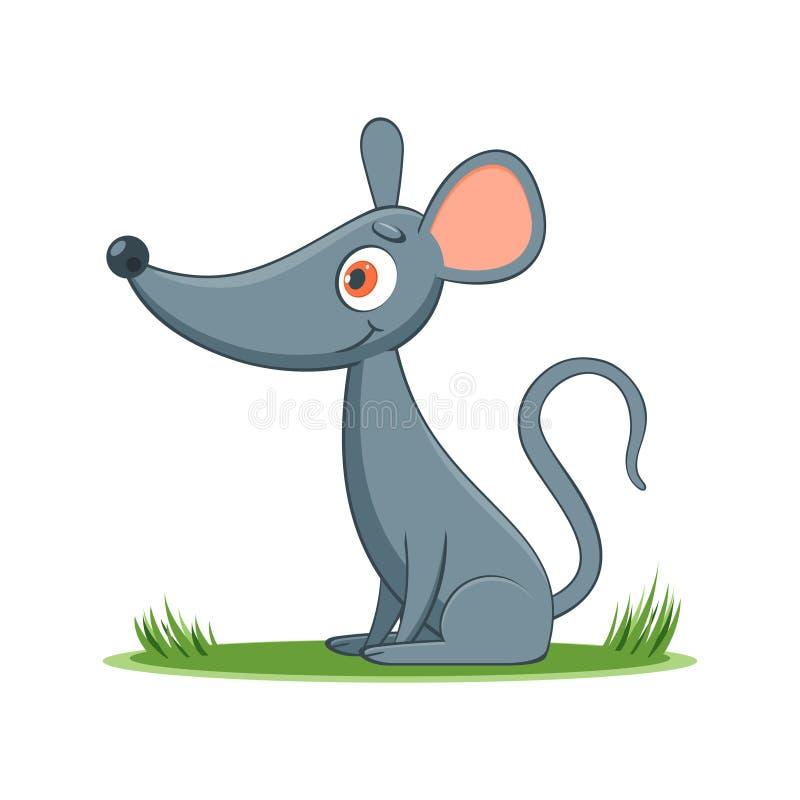 Счастливая мышь шаржа иллюстрация вектора