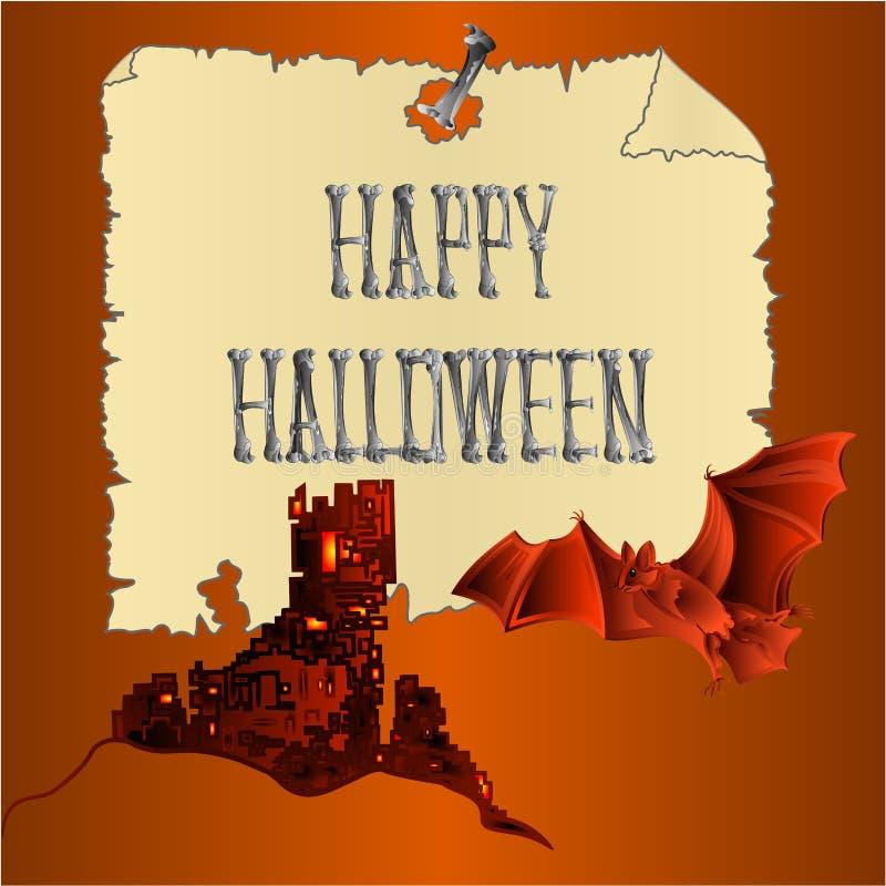 Счастливая надпись хеллоуина косточек пугающий замок и предпосылка праздника летучей мыши оранжевая vector иллюстрация editable бесплатная иллюстрация