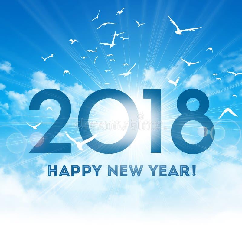 Счастливая Нового Года поздравительная открытка 2018 иллюстрация вектора