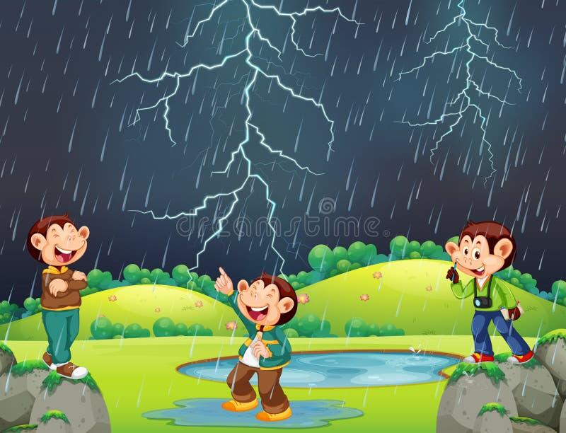 Счастливая обезьяна в дождливой сцене иллюстрация вектора
