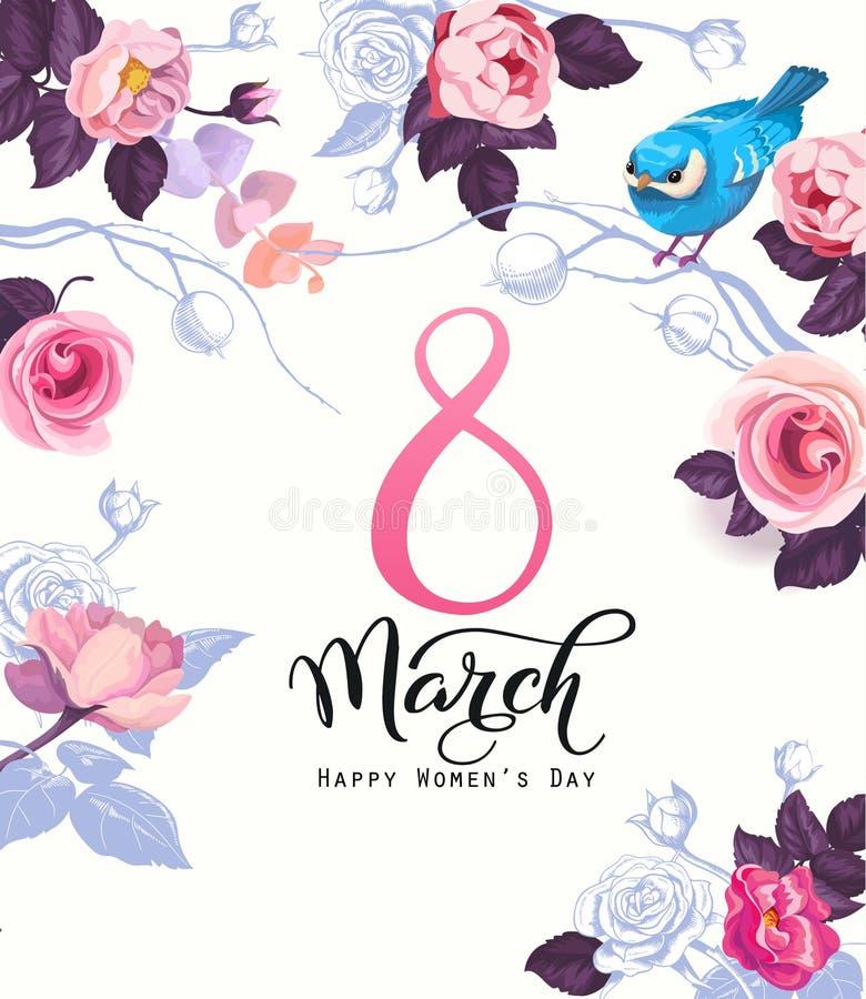 Счастливая открытка дня ` s женщин, приглашение партии или праздничный шаблон знамени с элегантной литерностью, роза одичалого пи иллюстрация штока