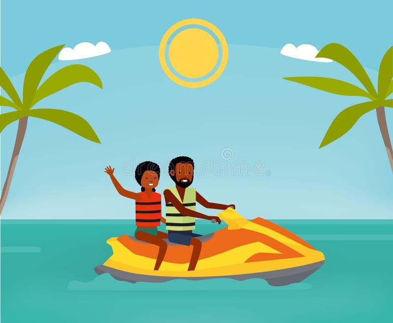 Счастливая пара едет лыжа двигателя Активная концепция перемещения Иллюстрация стиля шаржа плоская Афро-американские люди бесплатная иллюстрация