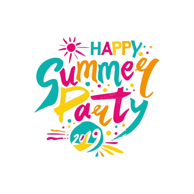 Счастливая партия 2019 лета Логотип шаблона вектора пестротканый Солнце и рукописная надпись иллюстрация вектора