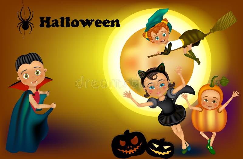Счастливая партия хеллоуина с детьми иллюстрация штока