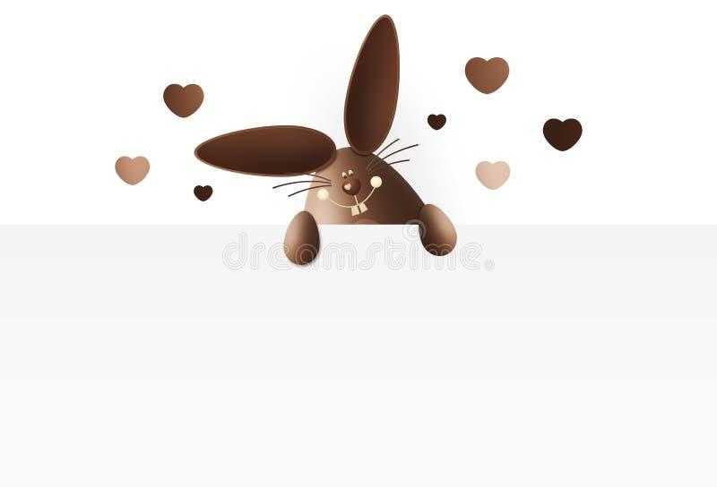 Счастливая пасха, зайчик шоколада смешной показывая знак с сердцем иллюстрация вектора