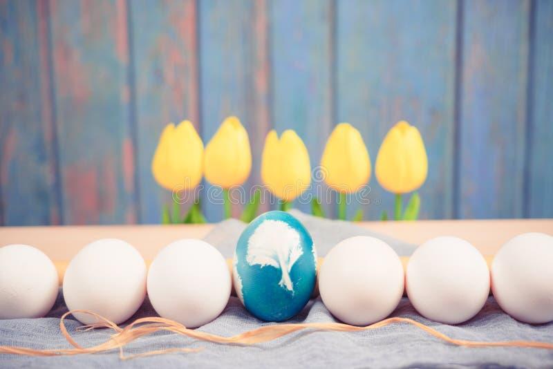 Счастливая пасха, органическое голубое пасхальное яйцо в середине белых яичек цвета ждет красить, украшения праздника пасхи стоковая фотография