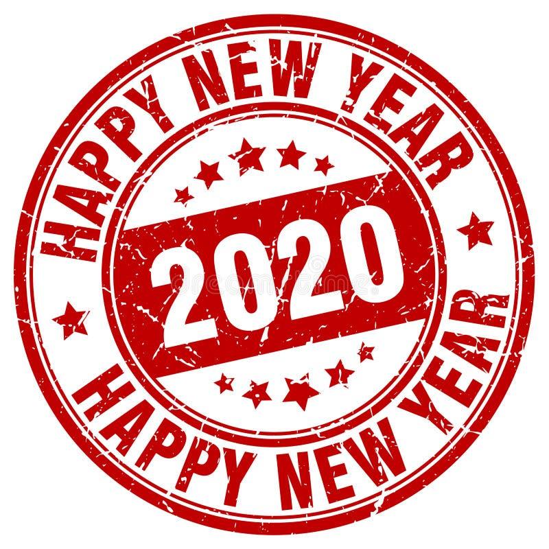Счастливая печать Нового Года 2020 год 2020 иллюстрация вектора