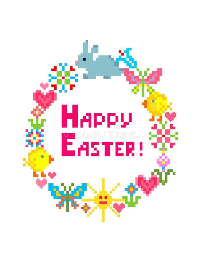 Счастливая поздравительная открытка вышивки пасхи смешная красочная с зайчиком, цыпленком, яйцом, бабочкой, солнцем, сердцами и ц иллюстрация вектора