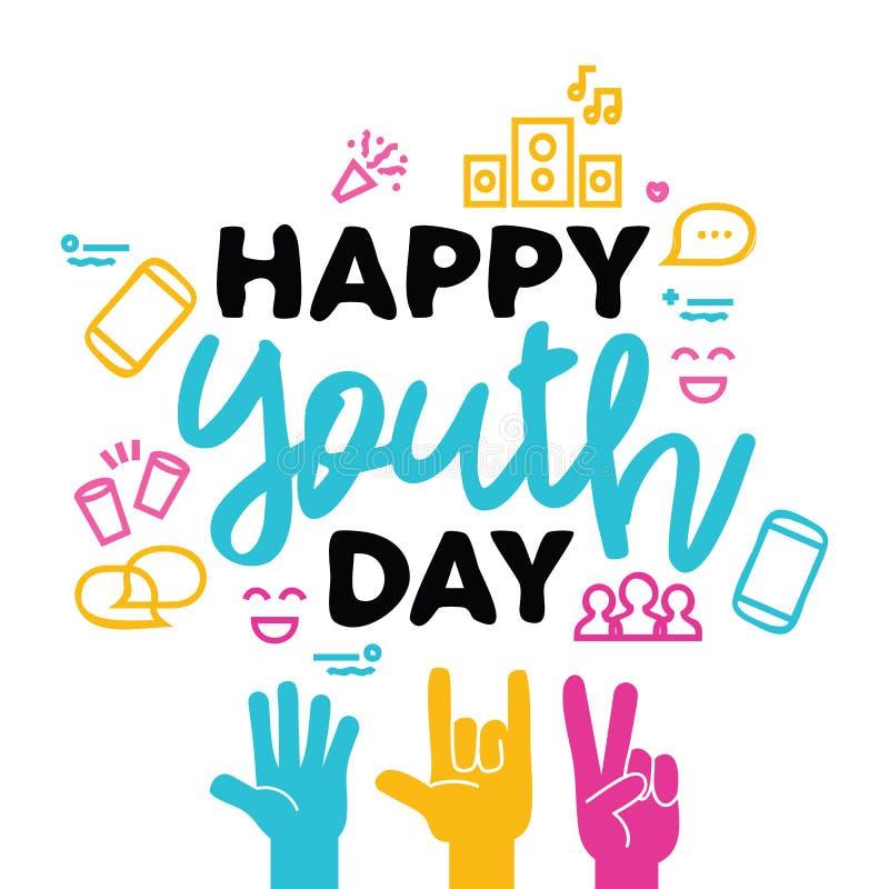 Счастливая поздравительная открытка дня молодости рук разнообразия иллюстрация штока