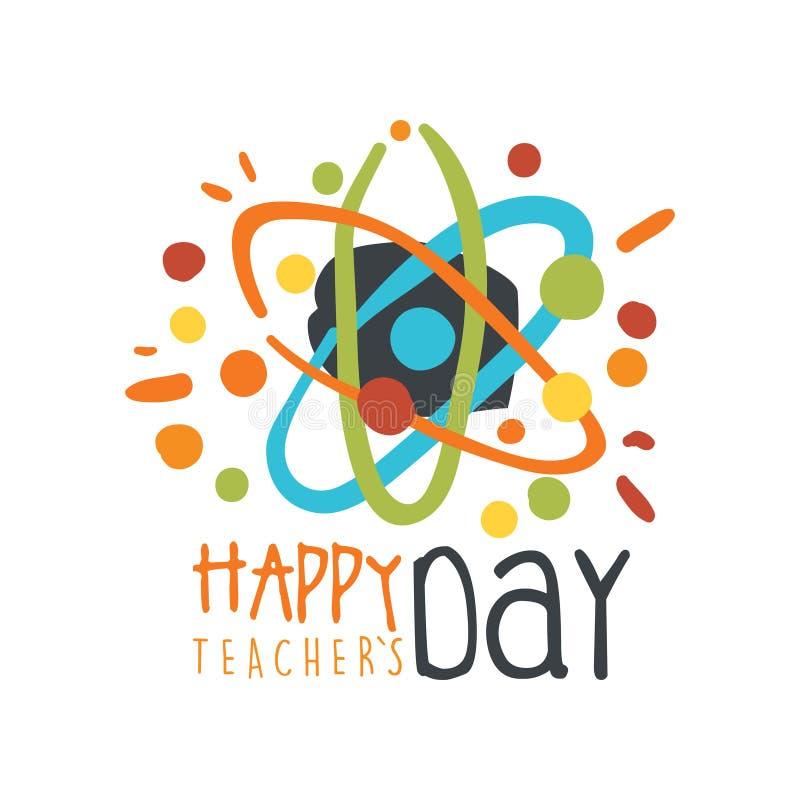 Счастливая поздравительная открытка дня учителей с атомом бесплатная иллюстрация