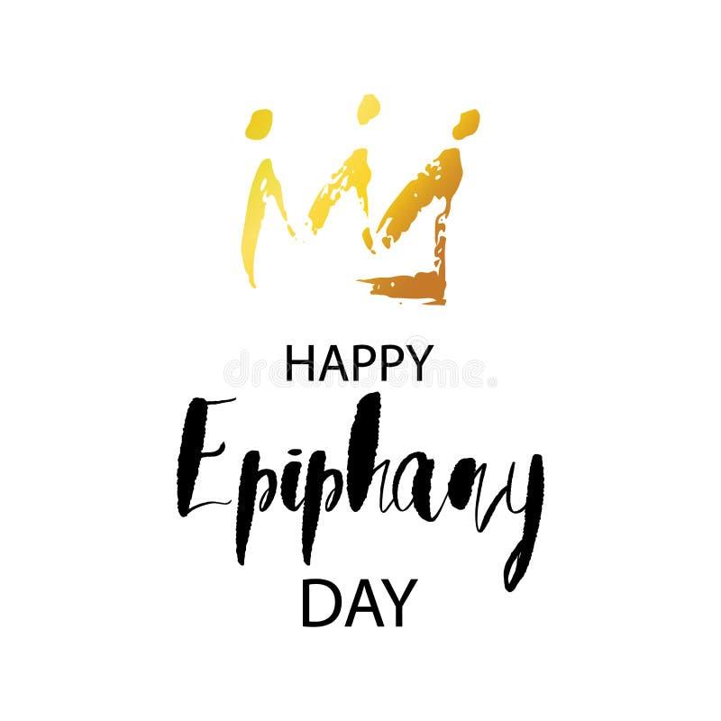 Счастливая поздравительная открытка дня явления божества с кроной нарисованной рукой золотой и реалистическими звездами иллюстрация штока