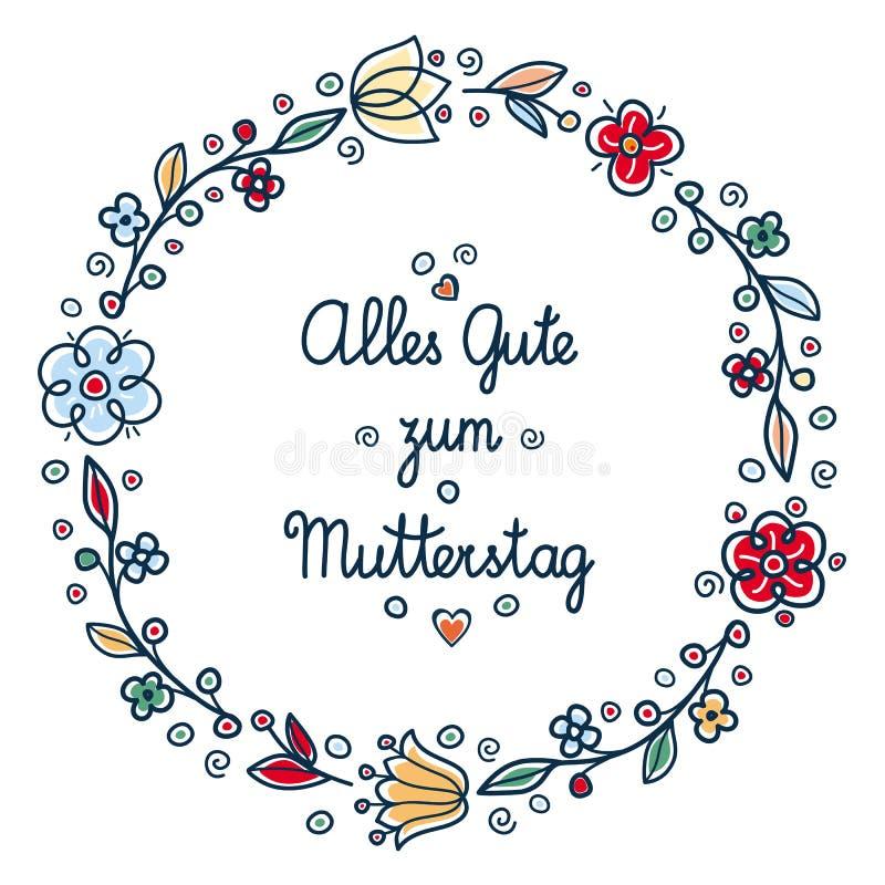 Счастливая поздравительная открытка дня ` s матери в Deutsche бесплатная иллюстрация