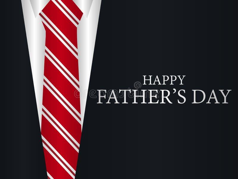 Счастливая поздравительная открытка дня ` s отца Костюм с связью, праздничным знаменем вектор иллюстрация штока