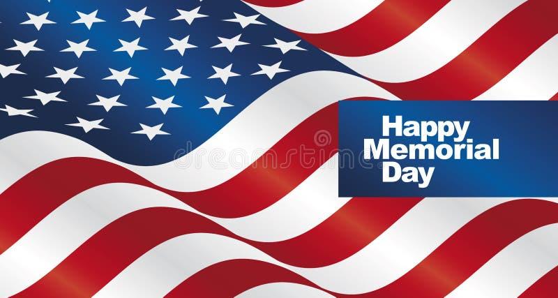 Счастливая поздравительная открытка ландшафта флага США Дня памяти погибших в войнах иллюстрация вектора