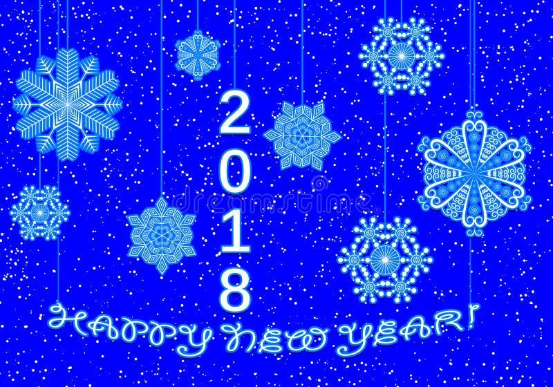 Счастливая поздравительная открытка Нового Года в 2018 от снежинок бесплатная иллюстрация