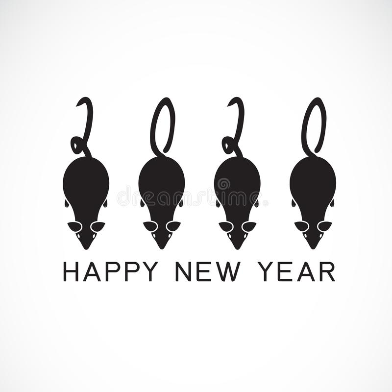Счастливая поздравительная открытка Нового Года 2020 Каллиграфия вектора 2020 год знака крысы помечая буквами gre шаблона титульн иллюстрация вектора