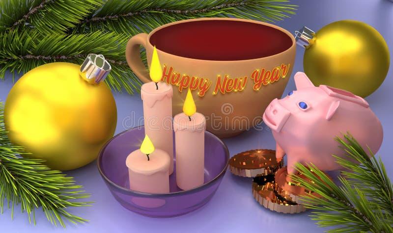 Счастливая поздравительная открытка Нового Года с шариками рождества, свечами и свиньей перевод 3d стоковые фото