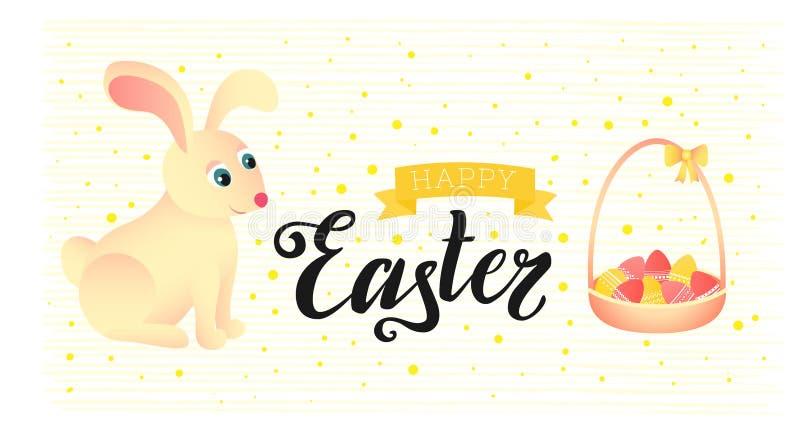 Счастливая поздравительная открытка пасхи Кролик сидит около корзины с яичками иллюстрация штока
