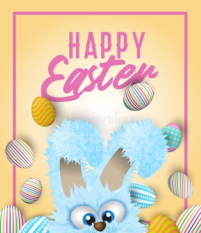 Счастливая поздравительная открытка пасхи с покрашенными или украшенными яичками и голубым пушистым зайчиком который прячет внизу иллюстрация штока