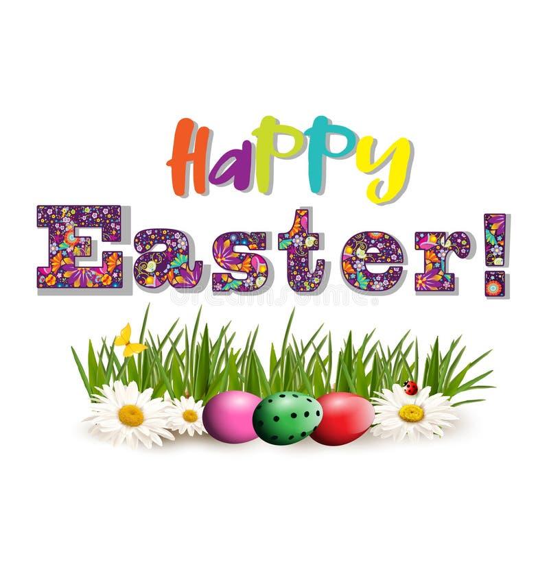 Счастливая поздравительная открытка пасхи с покрашенными текстом и яичками на траве иллюстрация штока
