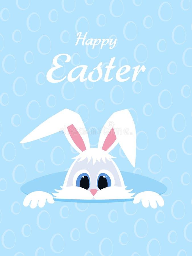 Счастливая поздравительная открытка пасхи с яичками предпосылкой и кроликом Белый милый зайчик пасхи peeking из отверстия длинные иллюстрация вектора