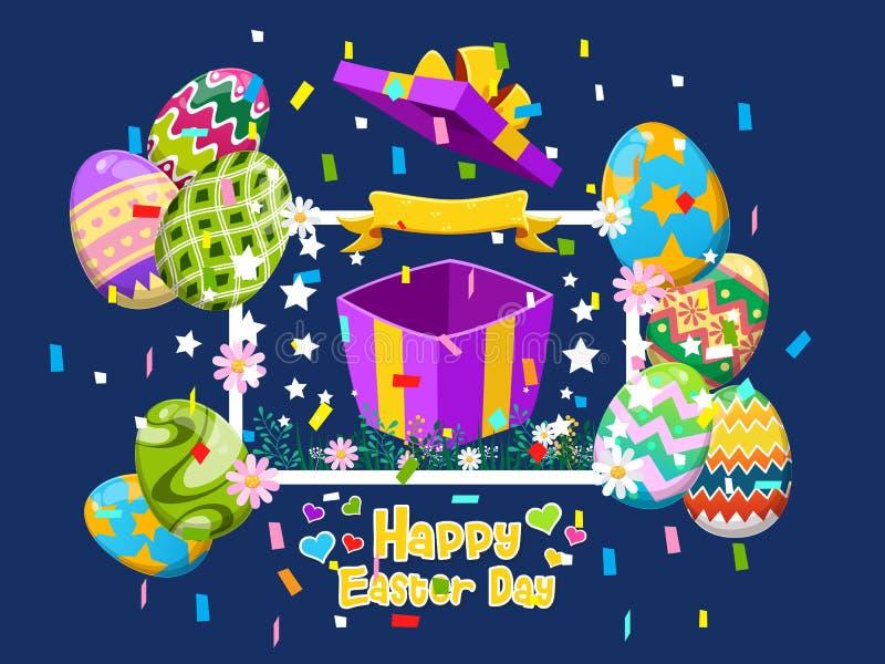 Счастливая поздравительная открытка пасхи с яйцами и подарочной коробкой и цветком Элемент иллюстрации вектора декоративный на де иллюстрация вектора