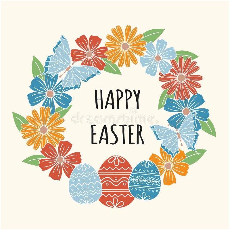 Счастливая поздравительная открытка пасхи, флористический венок иллюстрация штока