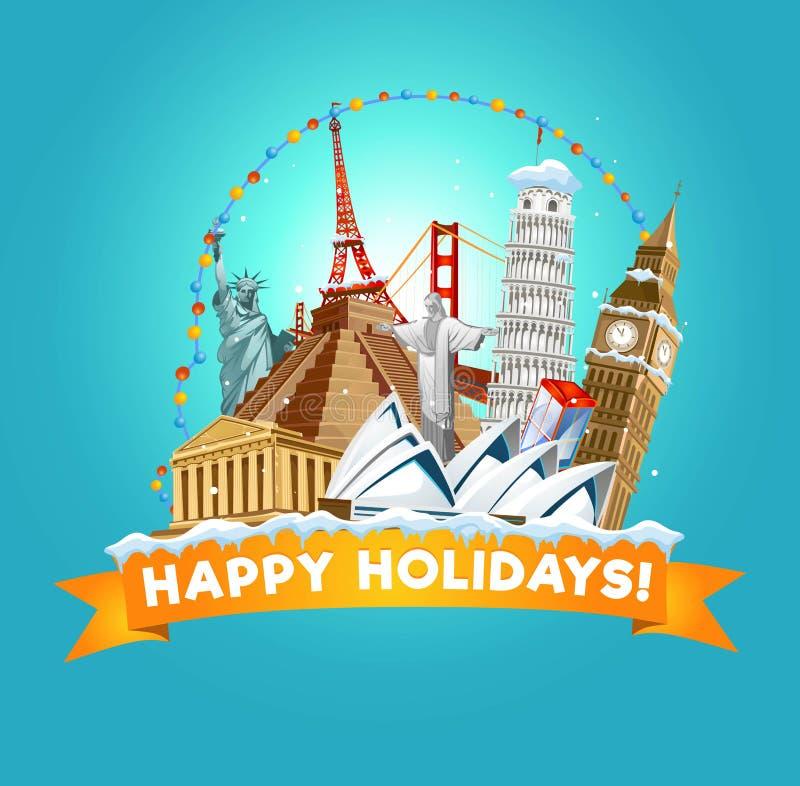 Счастливая поздравительная открытка праздников для турагентства или открытки Vec иллюстрация штока