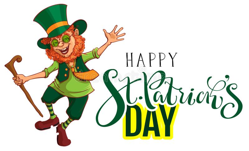 Счастливая поздравительная открытка текста дня StPatricks Красный смешной лепрекон gaily танцует иллюстрация вектора