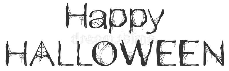 Счастливая поздравительная открытка текста сети паука хеллоуина иллюстрация штока