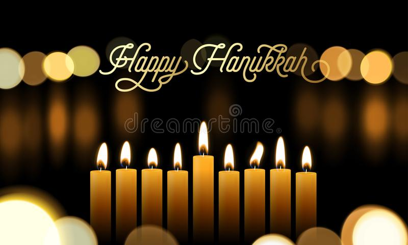 Счастливая поздравительная открытка Хануки золотого шрифта и свечи на еврейский праздник конструируют предпосылку Fe светов векто иллюстрация вектора
