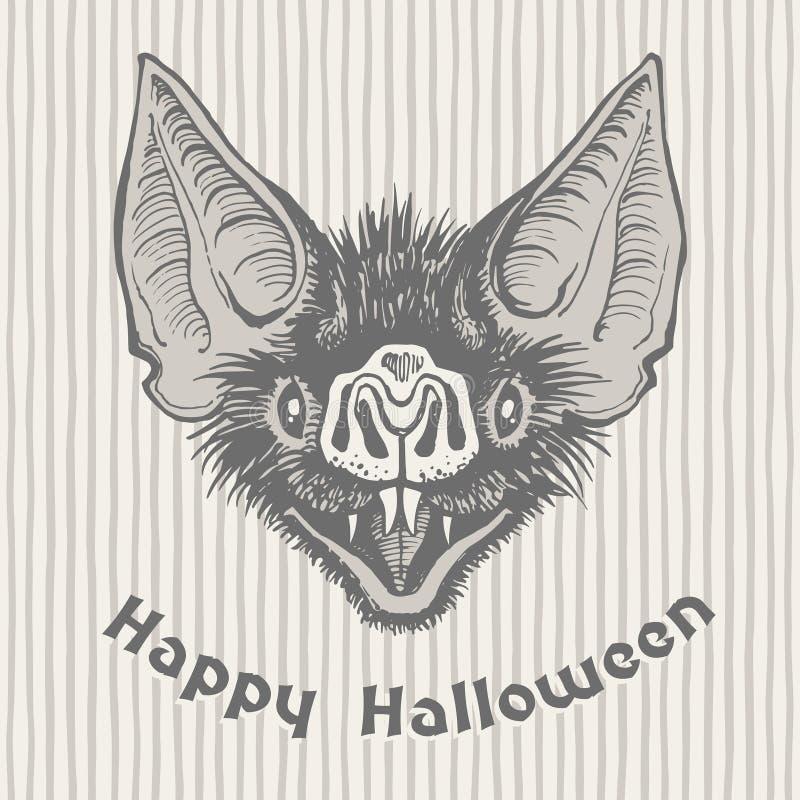 Счастливая поздравительная открытка хеллоуина винтажная с головой ` s летучей мыши вампира иллюстрация штока