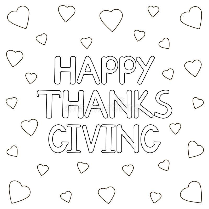 Счастливая предпосылка благодарения с сердцами Страница расцветки бесплатная иллюстрация
