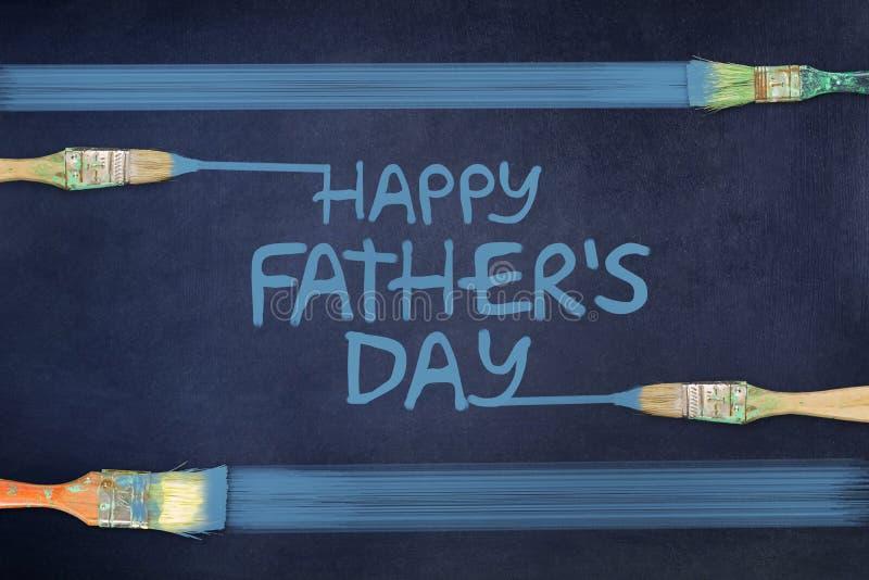 Счастливая предпосылка Дня отца Надпись покрашена на голубой предпосылке paintbrush иллюстрация штока