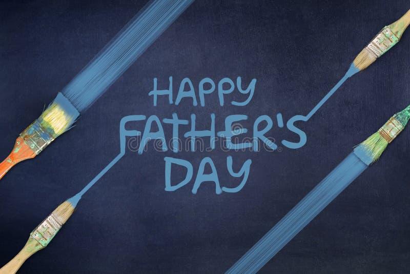 Счастливая предпосылка Дня отца Надпись покрашена на голубой предпосылке paintbrush иллюстрация вектора