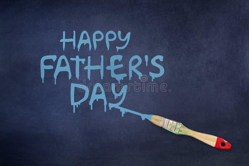 Счастливая предпосылка Дня отца Надпись покрашена на голубой предпосылке paintbrush бесплатная иллюстрация