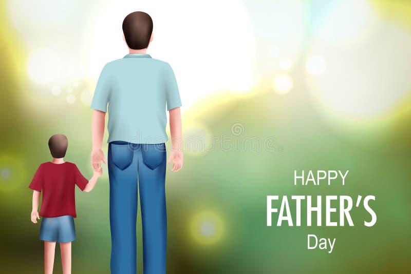 Счастливая предпосылка Дня отца показывая выпуск облигаций и отношение между ребенк и отцом иллюстрация вектора