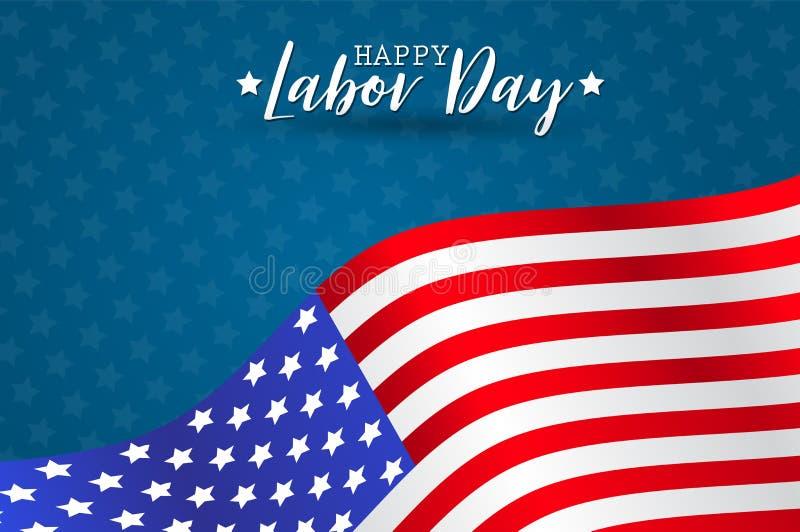 Счастливая предпосылка Дня Труда Концепция национального праздника США Реалистический флаг Соединенных Штатов Америки с нашивками бесплатная иллюстрация