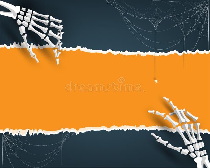 Счастливая предпосылка иллюстрации партии хеллоуина, карточка приглашения на праздники с паутиной косточки руки и шарж паука иллюстрация штока