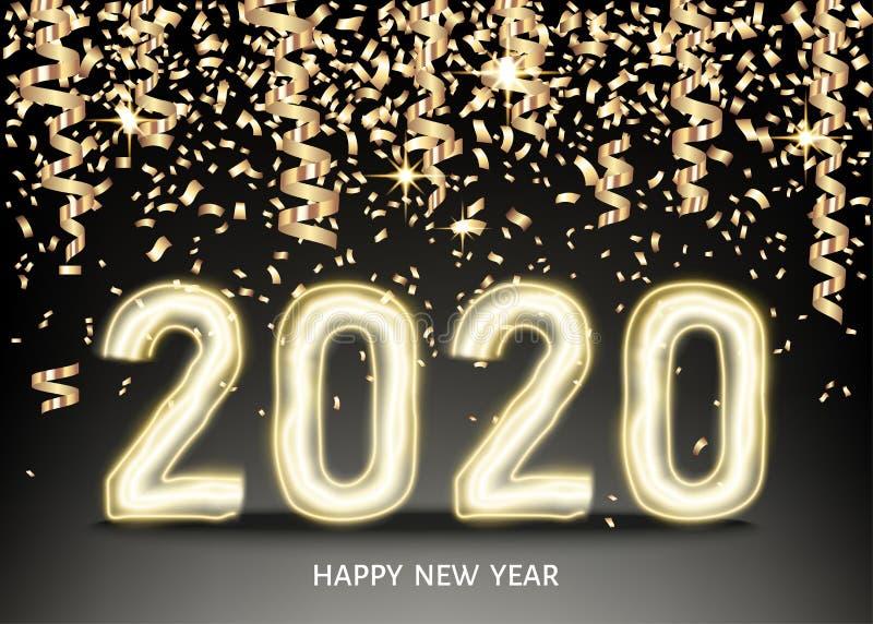 счастливая предпосылка Нового Года 2020 с золотым неоновым номером, confetti бесплатная иллюстрация