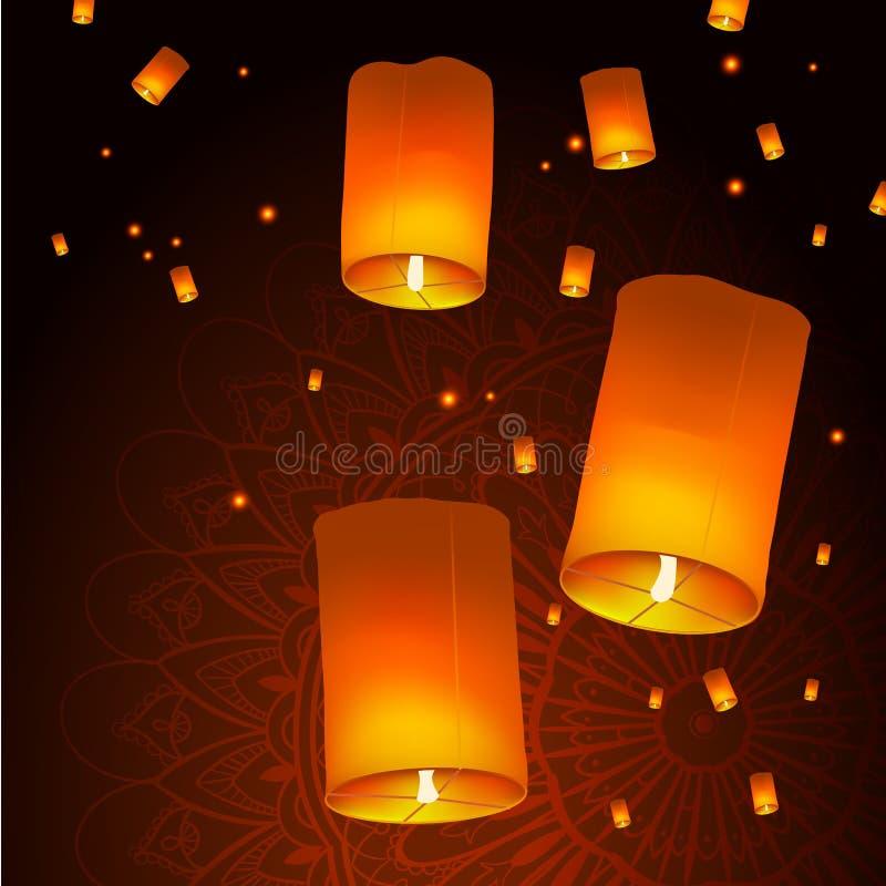 Счастливая предпосылка с фонариками неба плавая над мандалой, индийская концепция праздника Diwali торжества фестиваля огней иллюстрация вектора