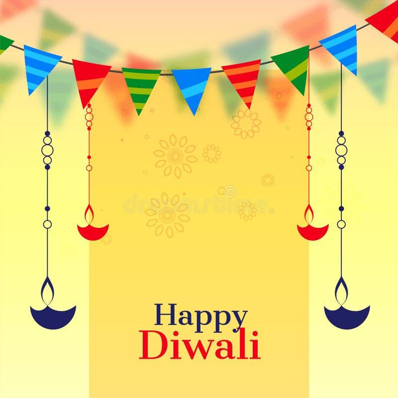 Счастливая предпосылка торжества diwali с diya смертной казни через повешение иллюстрация штока