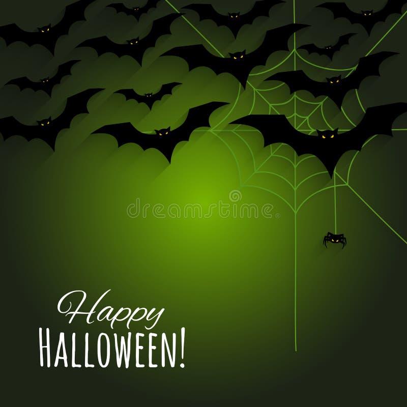 Счастливая предпосылка хеллоуина с летучими мышами силуэтов, сетью паука и малым пауком иллюстрация штока